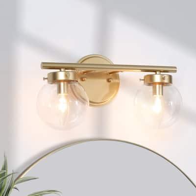 "Modern Gold 2-Light Globe Glass Vanity Lights Wall Lamps Sconces - L 14""x W 6.5""x H 8"""
