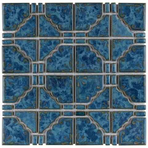"""SomerTile Moonbeam Pacific Blue 11.75"""" x 11.75"""" Porcelain Mosaic Tile"""