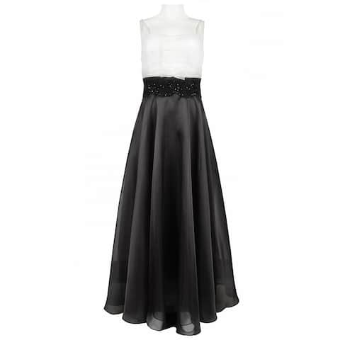 JS Collections Two Tone Organza Dress with Lace Trim