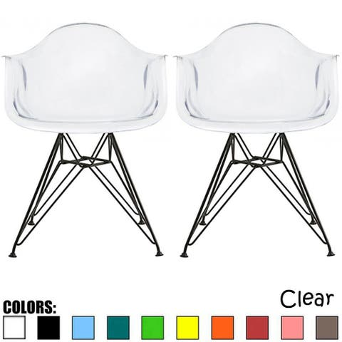 2xhome Set of 2 Clear Plastic Chairs With Arm Armchairs Dining Home Modern Work Kitchen Transparent Acrylic