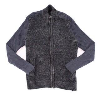 Alfani Gray Mens Size 2XL Chenille Full Zip Mock-Neck Sweater