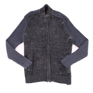Alfani Gray Mens Size Small S Chenille Full-Zip Ribbed Sweater