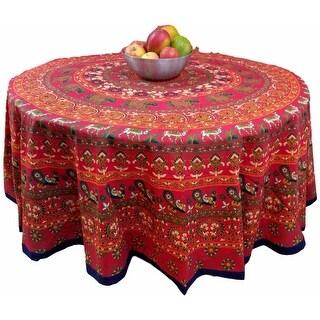 "Handmade 100% Cotton Elephant Mandala Floral 81"" Round Tablecloth Red Black"