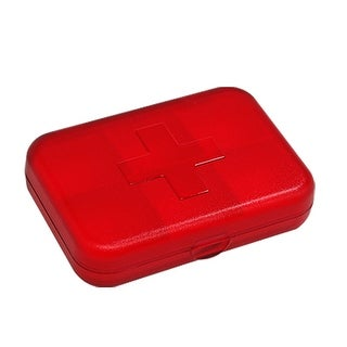 Clear Rectangle Plastic Clear Red Removable Pill Box