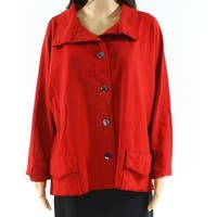 Fenini Red Womens Size Medium M Spread Collar Button Front Jacket
