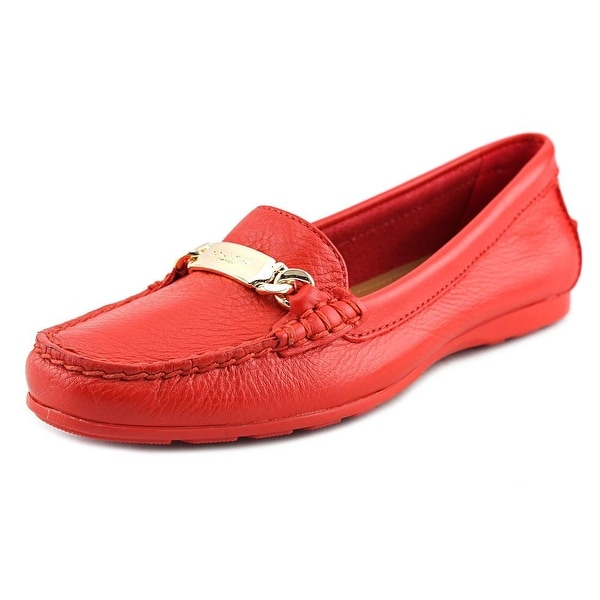 Coach Olive Women  Round Toe Leather Red Loafer