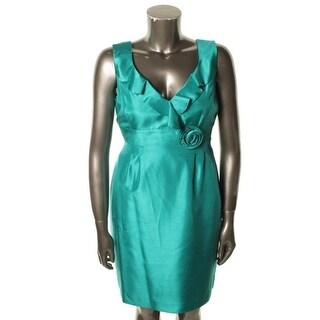 Tahari ASL Womens Justin Shimmer Sleeveless Cocktail Dress