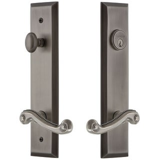 Grandeur FAVNEW_TP_ESET_238_RH  Fifth Avenue Solid Brass Tall Plate Single Cylinder Keyed Entry Set with Newport Lever and