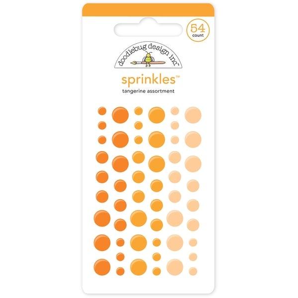 Doodlebug Sprinkles Adhesive Glossy Enamel Embellishments-Tangerine Dots 54/Pkg - Orange