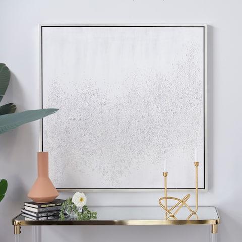 White Canvas Contemporary Framed Wall Art 39 x 39 x 1 - 39 x 1 x 39
