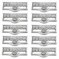 10 Switch Plate Tags BEDROOM Name Signs Labels Chrome Brass | Renovator's Supply