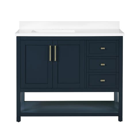 OVE Decors Stanley 42 in. Vanity in Midnight Blue with Power Bar