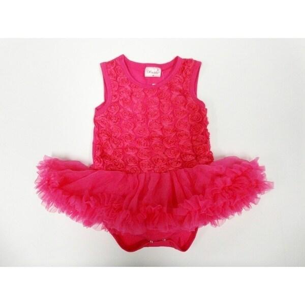 Hot Pink Rose Sleeveless Tutu Baby Girl Bodysuit S-L