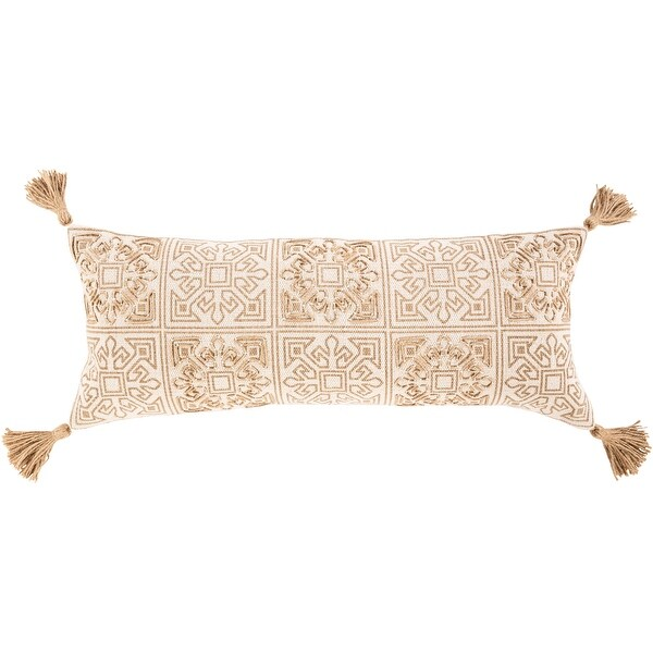 Pia Hand Embroidered Tassel 12x30-inch Lumbar Throw Pillow. Opens flyout.