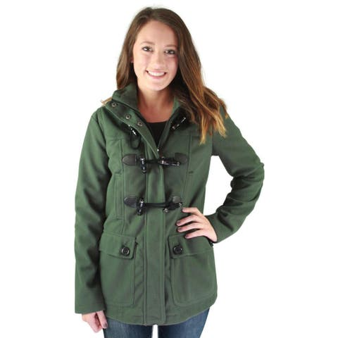 Urban Republic Juniors Hooded Toggle Faux Wool Coat Winter Jacket