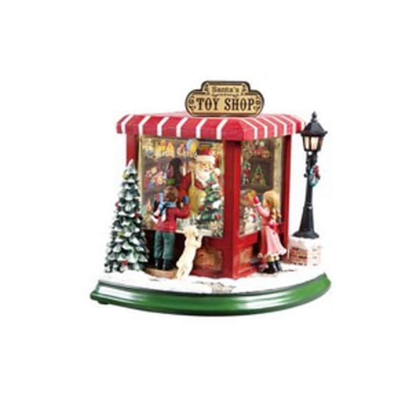 """Pack of 2 Icy Crystal Animated Musical Santa's Toy Shop Figurines 8.5"""" - RED"""