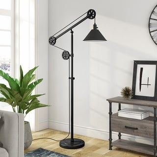Link to Devonshire Floor Lamp In Blackened Bronze With Pulley System Similar Items in Floor Lamps
