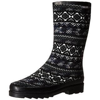 Muk Luks Womens Annabell Rain Boots Knit Mid-Calf