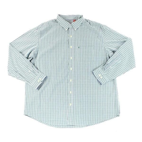 IZOD Men/'s Button Down Shirt XLT Blue White Classic Fit Performance Stretch New