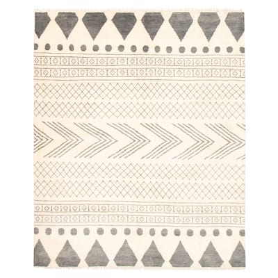 ECARPETGALLERY Hand-knotted Tangier Cream Wool Rug - 9'2 x 11'8