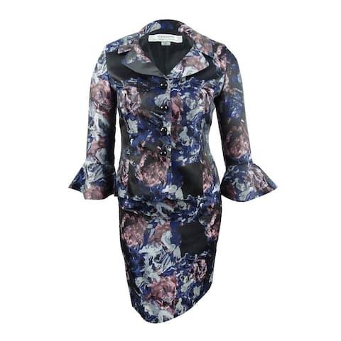 Tahari ASL Women's Floral-Jacquard Portrait Skirt Suit (2, Pink/Black) - Pink/Black - 2
