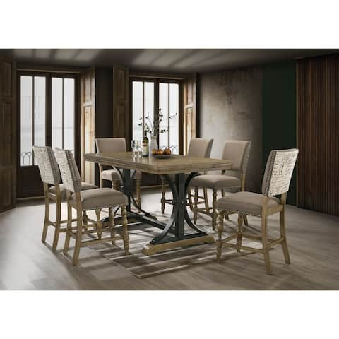 Birmingham 7-piece Driftwood Finish Table with Nail Head Chairs Counter Height Dining Set