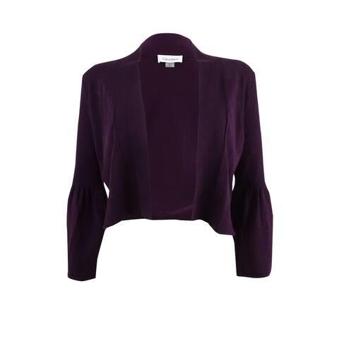 Calvin Klein Women's Bell-Sleeve Shrug - Aubergine