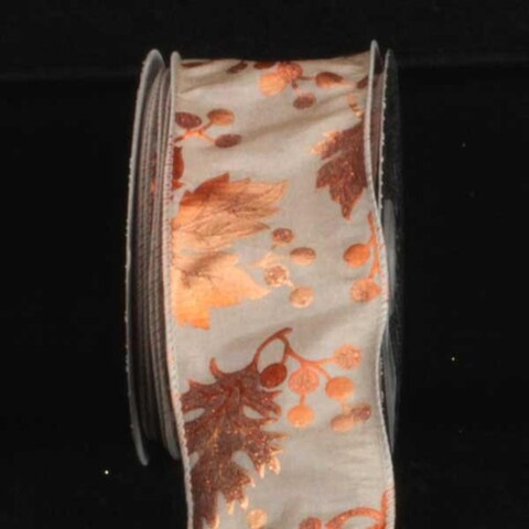 "Taupe with Copper Oak Leaf Print Wired Craft Ribbon 2.5"" x 20 Yards"