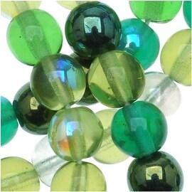 Czech Glass Druk 6mm Round 'Beads Ever Green Mix' (50)