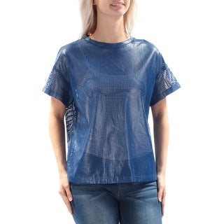 Womens Blue Short Sleeve Jewel Neck Top Size 4