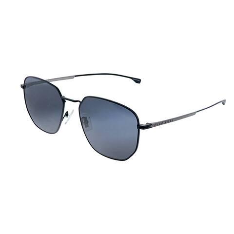 Hugo Boss BOSS 0992/F/S 003 Unisex Matte Black Frame Grey Blue Lens Sunglasses