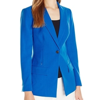 Anne Klein NEW Blue Women's 16 1-Button Zip-Pocket Blazer Jacket