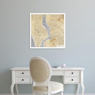 Easy Art Prints Laura Marshall's 'Gilded New York Map' Premium Canvas Art