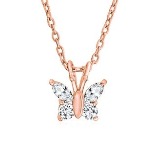 Clear CZ Butterfly Childrens Necklace Rose Gold Plated 925 Sterling Silver 18in