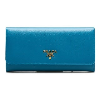 Prada Women's Continental Flap Saffiano Leather Wallet Heavenly Blue - M