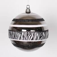 "Diva Safari Zebra Print & Stripes Black and White Christmas Ball Ornament 8"" (200mm)"