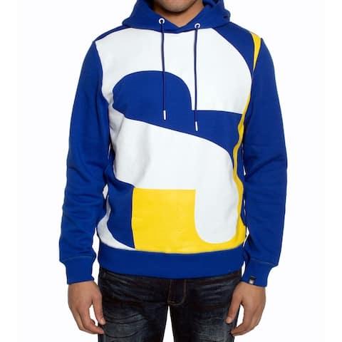 Sean John Mens Hoodie White Blue Size 2XL Colorblocked Drawstring