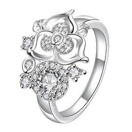 Mini Classic Crystal Clover Stud Shape Petite Ring