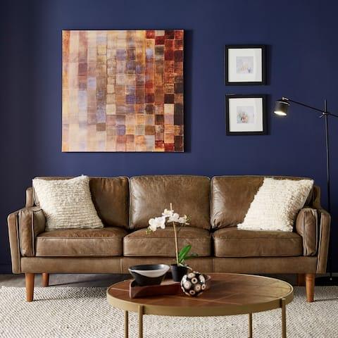 Strick & Bolton Beatnik Oxford Leather Tan Sofa