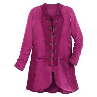 Cotton Connection Imperial Plum Cadet Coat - Magenta Velvet Jacket w. Zip Front