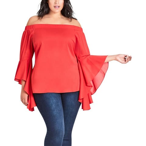 City Chic Womens Plus Strapless Top Off-The-Shoulder Bell Sleeves - Chili