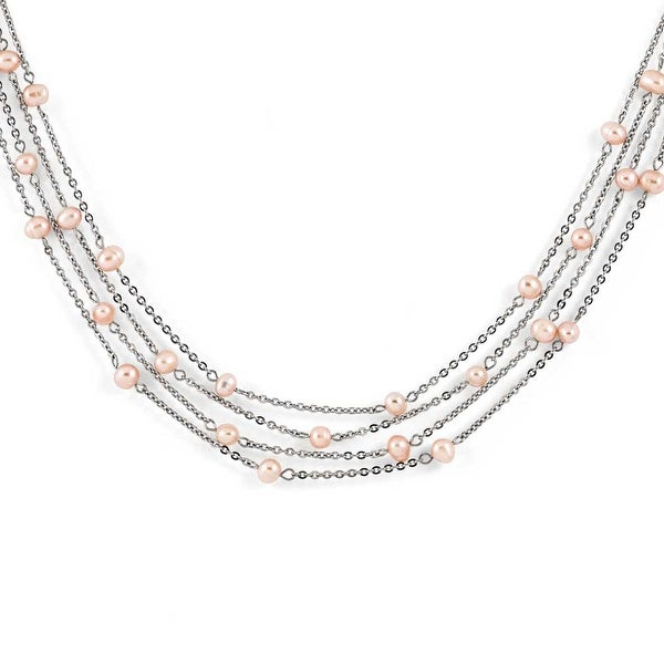 Chisel Stainless Steel 4 Strand Freshwater Cultured Pearl Necklace (15 mm) - 18 in