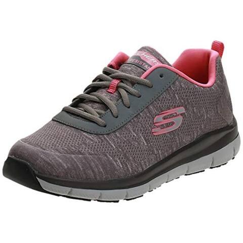 Skechers Women's Comfort Flex Sr Hc Pro Health Care Professional Shoe,gray/pink