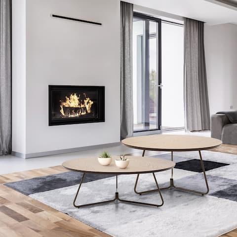 Coffee Table Herval Furniture, Round Top, Cross Metal Legs