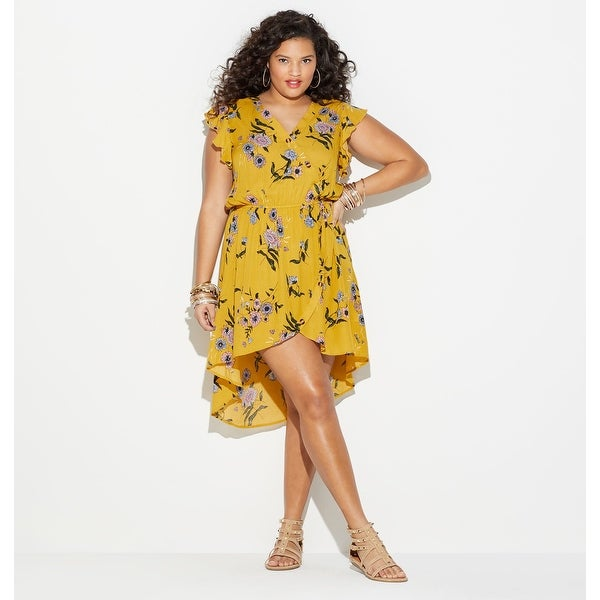 4284acab5e28 Shop LORALETTE Women's Floral Print Tulip Hem Dress - Yellow - Free  Shipping On Orders Over $45 - Overstock - 27389489