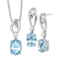 3 3/8 ct Natural Sky Blue & White Topaz Pendant & Earrings Set in Sterling Silver