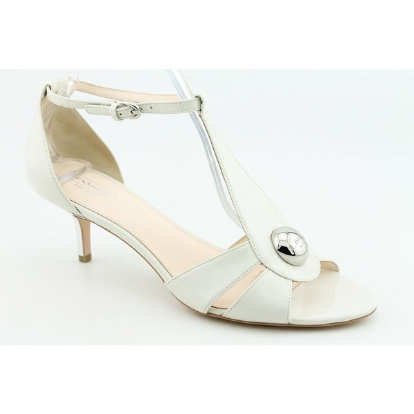 Coach Hellena Women Open-Toe Patent Leather Ivory Heels