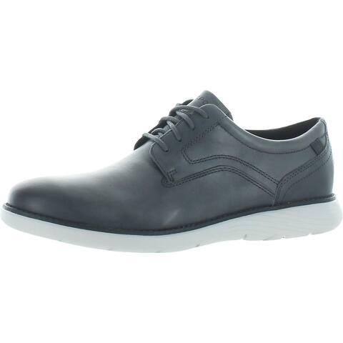 Rockport Mens Garett Plain Toe Oxfords Leather Plain Toe - Grey