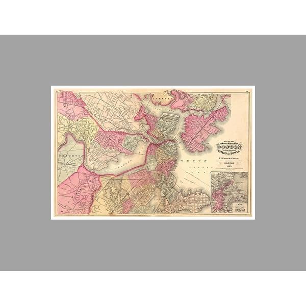 Boston (36x23) Vintage City Maps Matte Poster 36x23