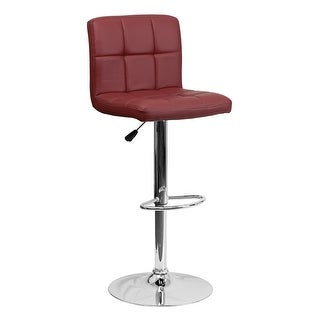 Offex Contemporary Burgundy Quilted Vinyl Adjustable Height Bar Stool with Chrome Base [OF-DS-810-MOD-BURG-GG]